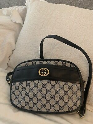 Authentic Vintage GUCCI Crossbody Shoulder Bag Handbag Purse Logo Monogram Blue