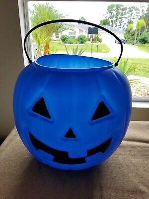 Halloween Plastic Pumpkin Candy Bucket Pail Blue Blow Mold Jack O Lantern Autism
