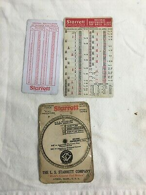 Vintage Starrett Decimal Equivalent Tap Size Threads Tap Drill Wheel And More