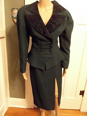 Vintage 1940s Inspired Green Skirt Suit w/ Double Breasted Top LG