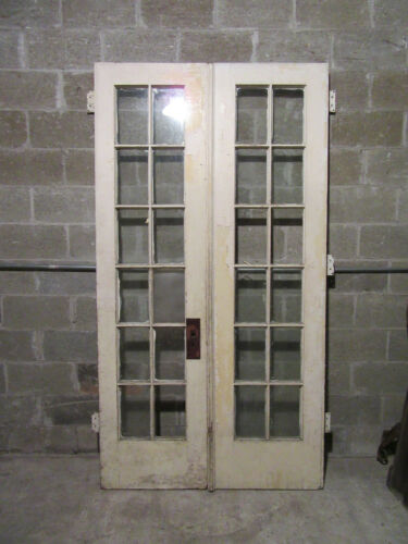 ~ ANTIQUE 12 LITE DOUBLE ENTRANCE FRENCH DOORS ~ 48 X 89.25 ~ SALVAGE