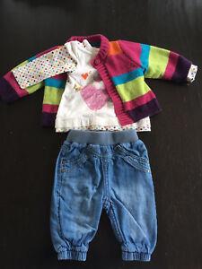 Lot 14 morceaux vêtements fille nouveau-né / 1 mois