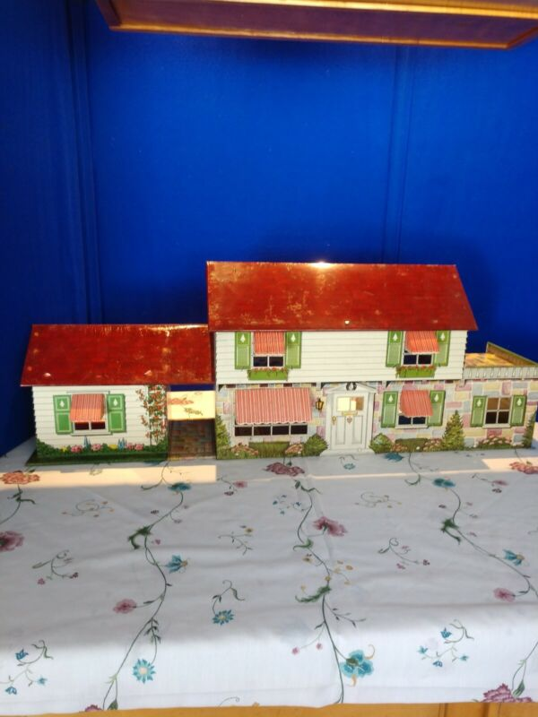 Vintage Tin Doll House With Shutters