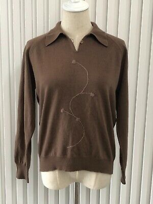 80s Sweatshirts, Sweaters, Vests | Women Vintage Slade Coffee Brown V-Neck Collared Pure New Wool Jumper Aust Size M $22.27 AT vintagedancer.com