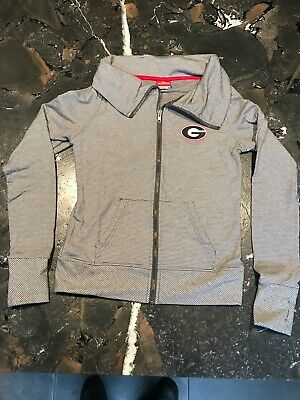 Women's Stripe Georgia Bulldogs Full-Zip Light Jacket Sweatshirt Hoodie -