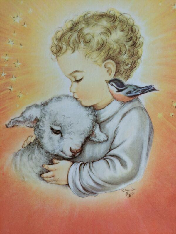 Vintage Print Child Lamb and Bird Charlot Byj