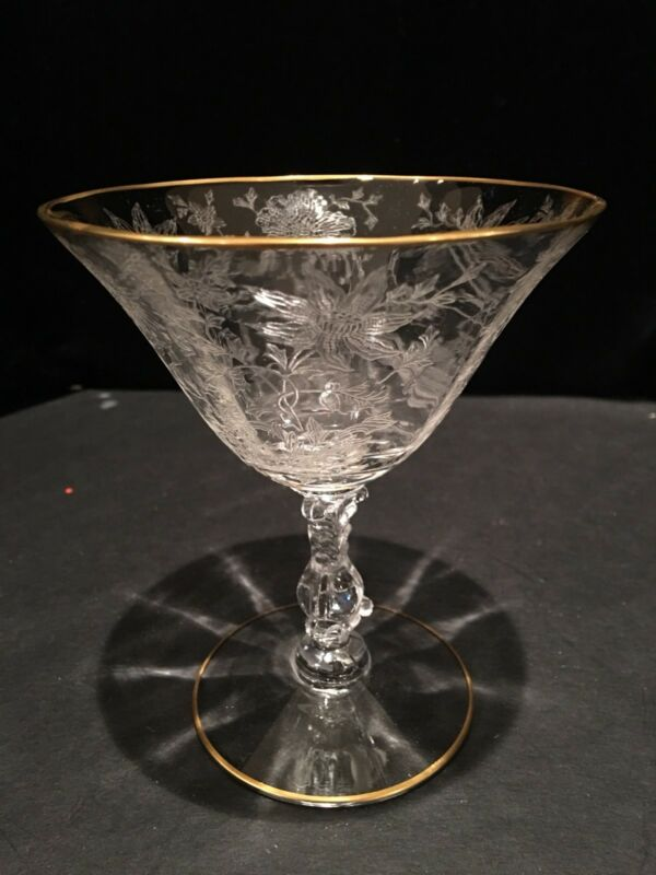 Cambridge Glass Wildflower 3121 6 oz short sherbet champagne martini gold rim