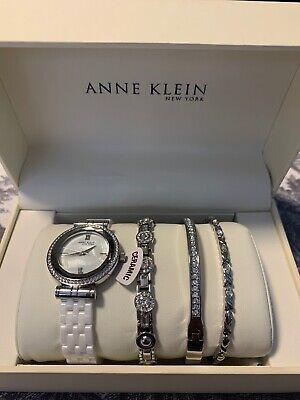 Anne Klein NY 12/2317WTST White Ceramic Watch With 3 Jewelry Bracelets NIB
