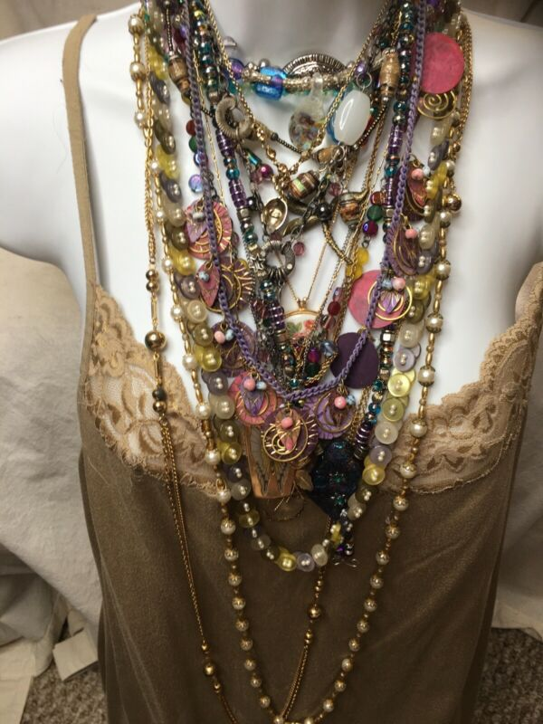 LOT of 20 vintage necklaces modern costume jewelry