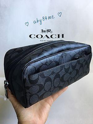 *NWT* Men's Coach Signature PVC Toiletry Travel Kit Bag F58540 Charcoal/Black