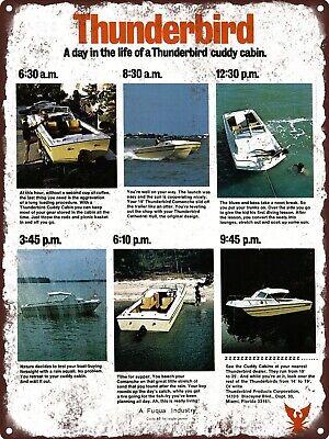 "1972 Thunderbird Motor Boat Cuddy Cabin Comanche 19 25 Sign 9x12"" A073"