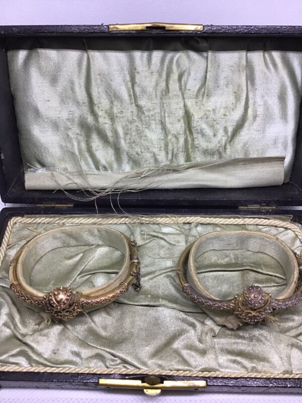 Antique Victorian Etruscan Matching Pair 14 K Yellow Gold Bangles