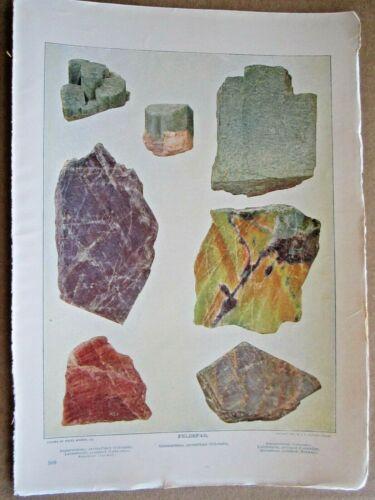 1902 ANTIQUE FELDSPAR STONES ROCKS MINERALS LITHOGRAPH PRINT