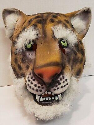 Vintage Leopard Rubber Mask Halloween Cosplay Green Eyes White Fur Full Head