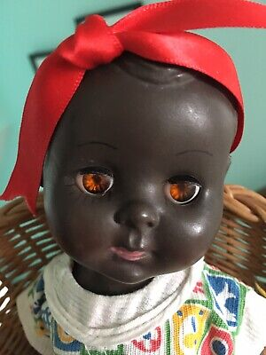 Vintage Rosebud Baby Doll, Small, Black- In Super Condition