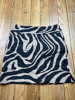 Ann Taylor Loft Womens Size 0 Skirt Brown Zebra Stripe  2 Pocket Brown Zebra Stripe