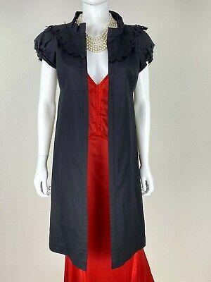 Jil Sander New 8 US 38 D M Black Cotton Silk Dress Open Front Jacket Runway