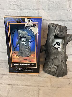 """Vintage Gemmy Animated Haunted Tree with Halloween Ghost 1995 Original Box 12"""""""