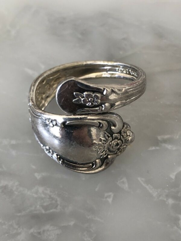 Vintage Spoon Ring Floral Oneida   WMA Rogers Spoon Ring Sz 7 Silver Plated
