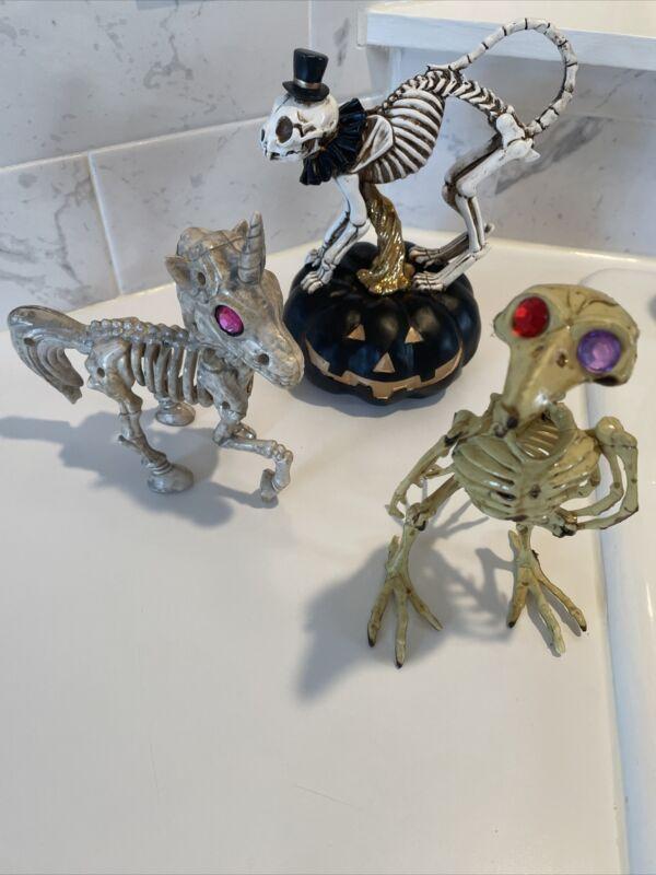 Skeleton Animal Figurines-Halloween- Unicorn, Bird & Cat On Pumpkin