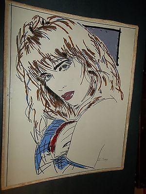 80s GIRL ORIGINAL VINTAGE REVERSE ARTWORK ON ACRYLIC SHEET signed I Jorge