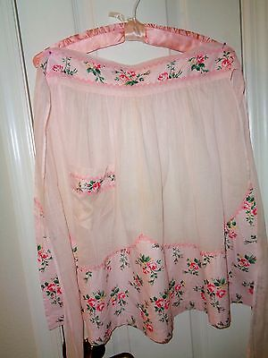Sweetest Vintage Pink Organdy Apron With Roses and Rick-Rack