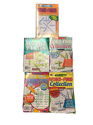 Lot of 5 WORD-FINDS Search Puzzle Books~NEW~Kappa~Tons of Fun~FREE Shipping