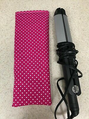 Flat Iron / Curling Iron Fabric Case/ Cover - White Polka Dots on Hot Pink Curling Iron Cover Case