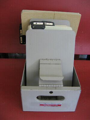 Vintage Control-o-fax 6x12 Metal Card File Case 2 Sets Alphabet File Dividers