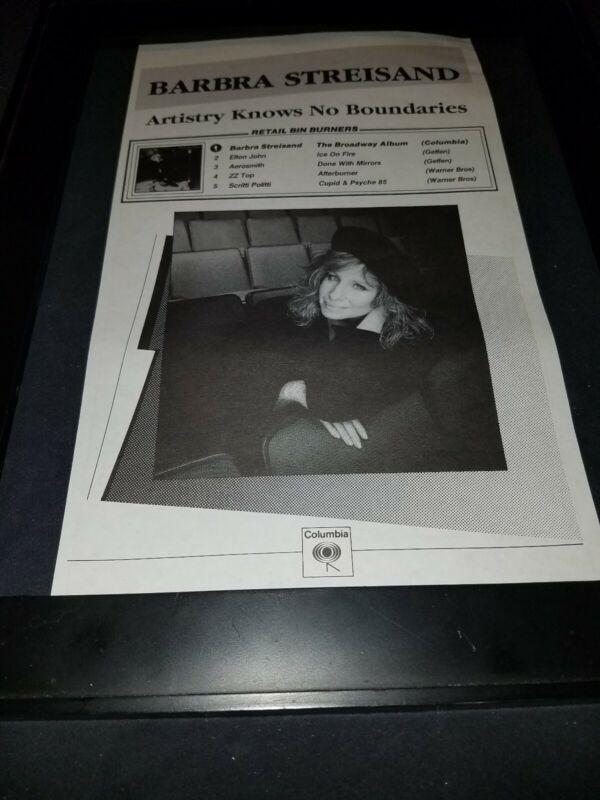 Barbra Streisand Rare Original Columbia Records Radio Promo Poster Ad Framed!