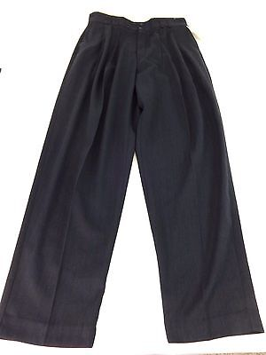 NWT AZIA COLLECTION MENS NAVY PINSTRIPED POLY RAYON DRESS PANTS SIZE 34 X 34