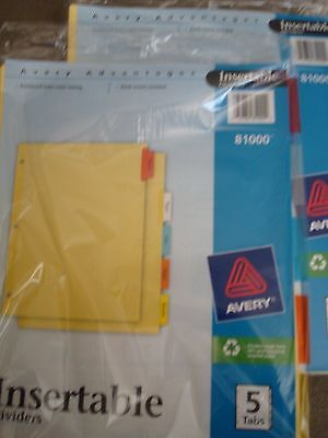 Avery Insertables Dividers 5 Tab 81000 Lot Of 2