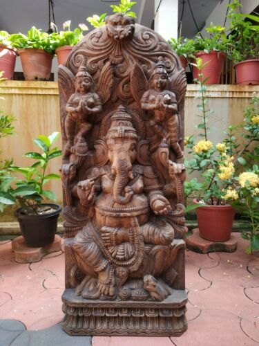 Ganesh Ganesha Sculpture Statue Wall Panel Hindu Temple Figurine Handcarved Idol