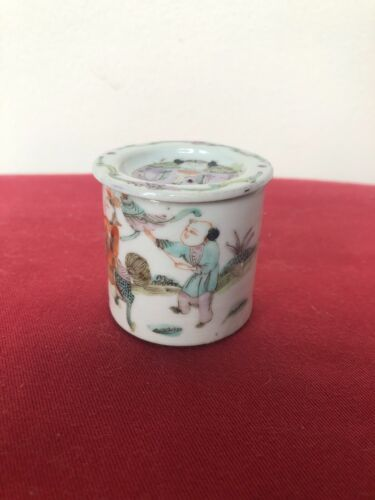 Vintage Chinese Porcelain Hand-painted Pastel Small Jar