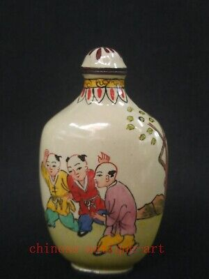 Collection Chinese Old Cloisonne Painting Children play Figure Snuff Bottle