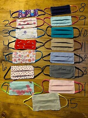 Face Mask Covering Handmade Washable New Clean - Cotton - 2 Layers w/Pocket Handmade Clean Cotton