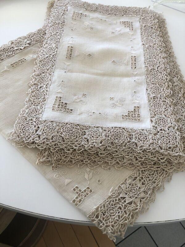Vintage Linen Reticella Needlework Lace 12 Placemats & Runner + Bonus 12 napkins