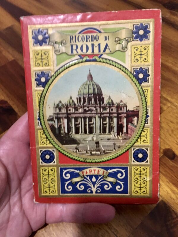 Vintage Ricordo Di Roma Partei Small Book of Fold Out Post Card Pictures Italy