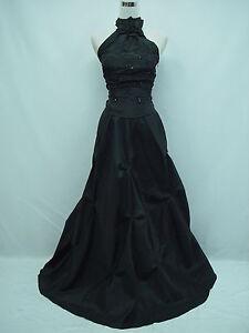 Cherlone-Satin-Black-Halter-Ball-Gown-Wedding-Evening-Bridesmaid-Dress-Size-8-10