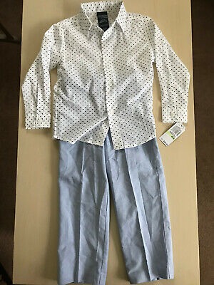Set of 2: Nautica Toddler Boys Size 4T: Gray Pants and White Shirt