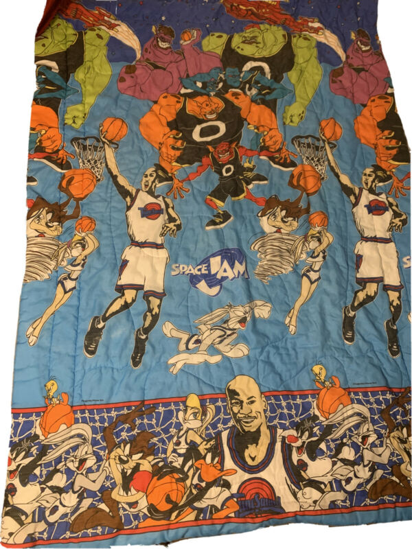 Vintage Warner Bros 1996 Space Jam Twin Size Comforter Blanket Michael Jordan
