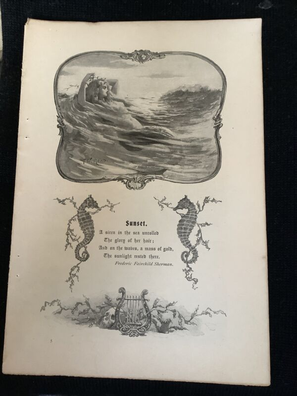 VINTAGE F.W. Read Art PRINT From Muney's Magazine 1890s MERMAID Seahorse Skull