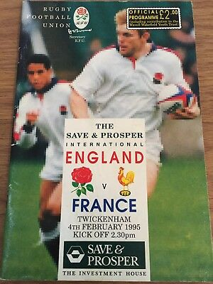 England Vs France International Rugby Union Programme 04/02/1995