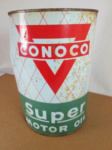 Vintage Conoco Super Motor Oil empty 5 qt metal can