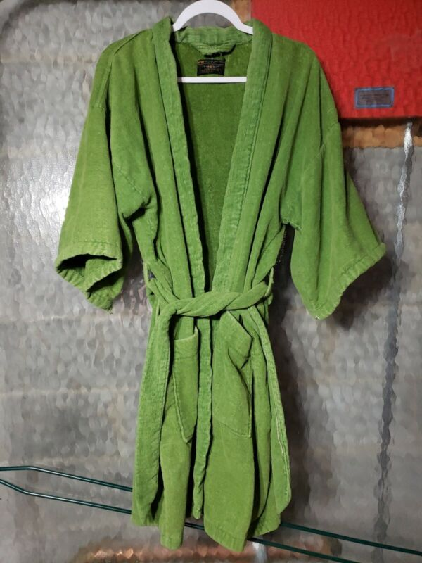 Vintage 1960s Pea Green Terrycloth Robe By TownCraft JC Penney One Size