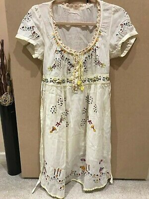 Gorgeous Franche Lippee Embroidered Party Dress Cotton Wrap One Size UK 8-10