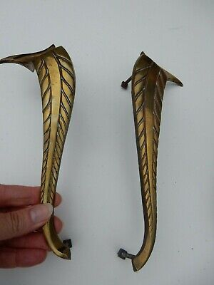 ART DECO ERA  CABINET HANDLES   BRASS STYLISH   TO UPCYCLE   -  22 CM TALL