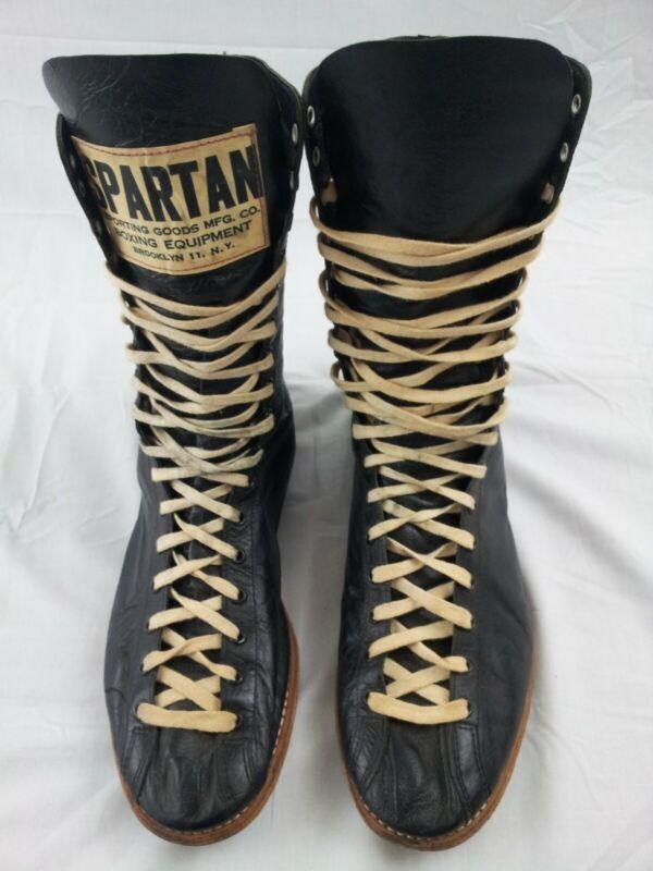 VTG RARE SPARTAN leather boxing shoes boots size 10.5 black MAN CAVE