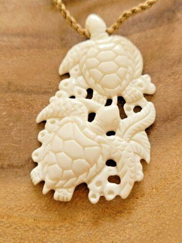 Hawaiian Buffalo Bone Carved Turtle Couple Pendant Necklace Adjustable Choker
