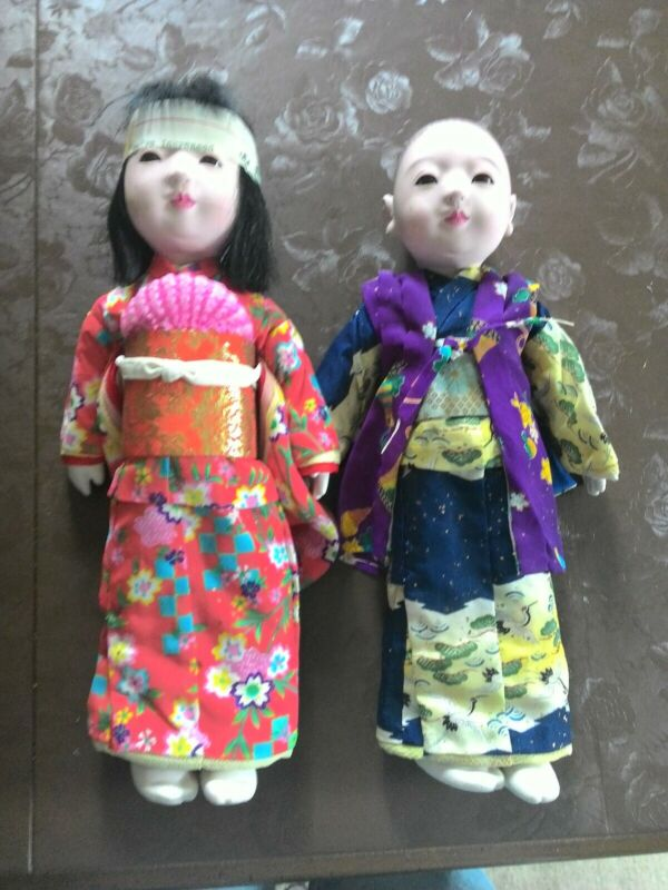 "Vintage Japanese Ichimatsu Gofun Doll Pair 13.5-14"""